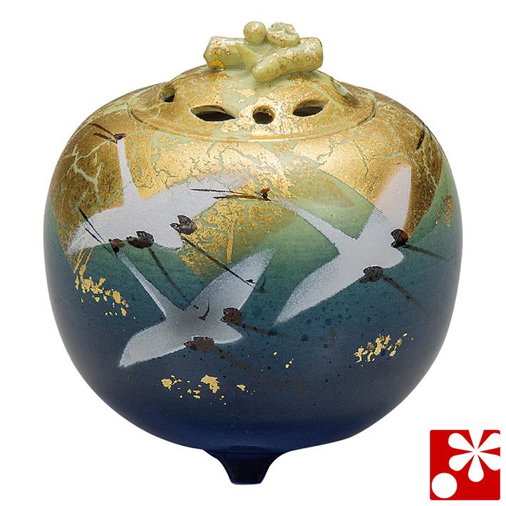 九谷焼 3.5寸 香炉 釉彩金箔鶴 山田登陽志( 陶器 かわいい おしゃれ 仏具 アンティーク )