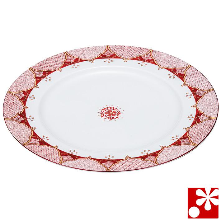 九谷焼 大皿(径26cm) 赤絵小紋(和食器 おしゃれ 食器 角皿)
