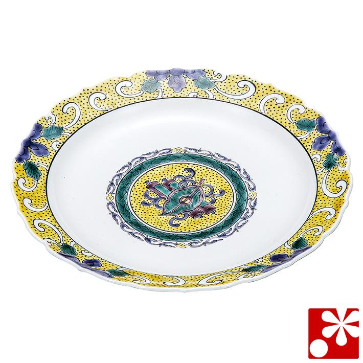 九谷焼 大皿(径 24cm) 色絵宝文 銀泉窯(和食器 おしゃれ 食器)