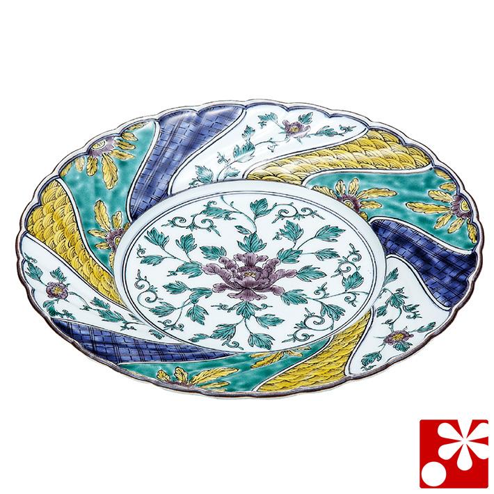 九谷焼 大皿(径 26cm) 色絵牡丹 銀泉窯(和食器 おしゃれ 食器)