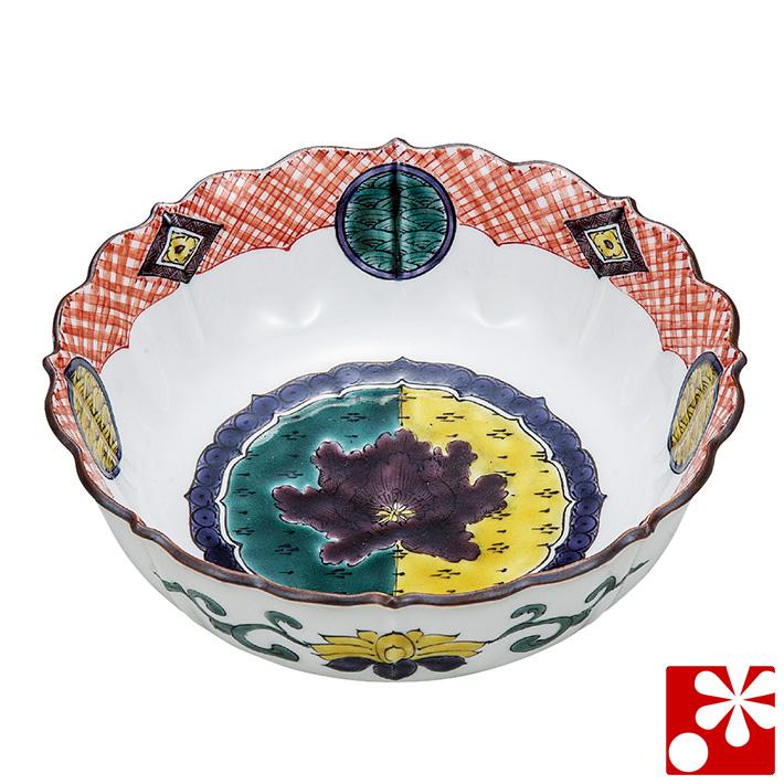 九谷焼 煮物鉢 色絵牡丹文 銀泉窯( 和食器 中鉢 )