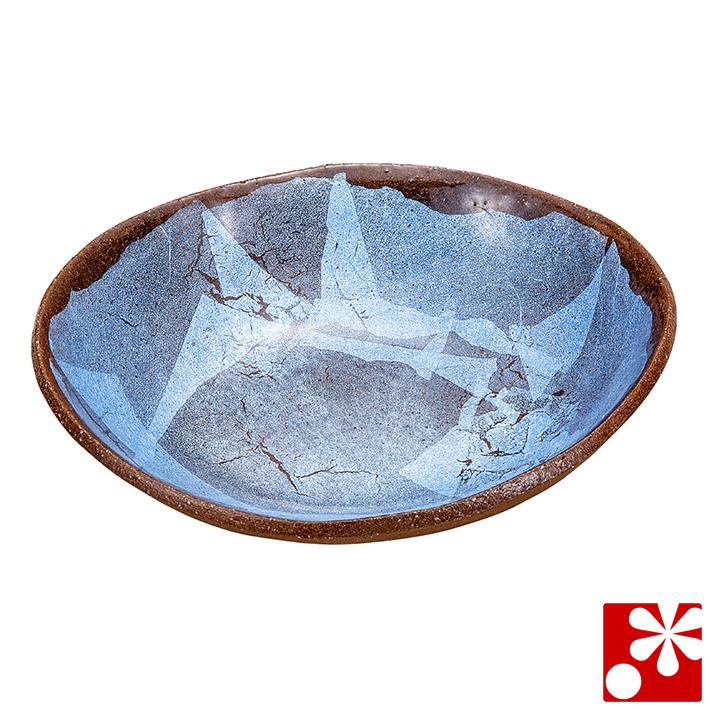九谷焼 煮物鉢 銀彩 柴田博(和食器 楕円鉢)