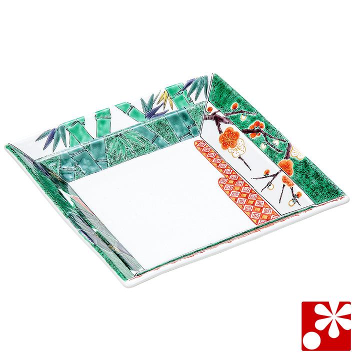 九谷焼 煮物鉢 色絵松竹梅 宮本晄(和食器 角鉢)