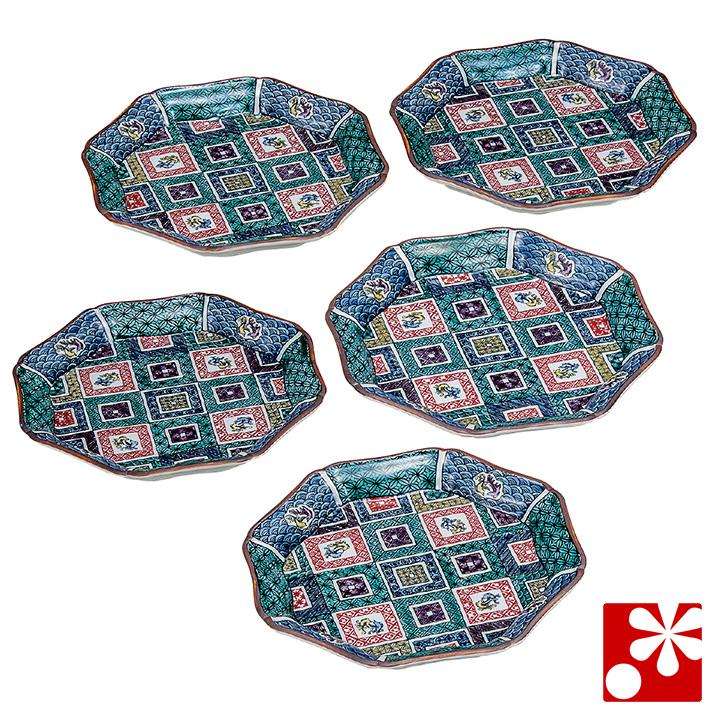 九谷焼 中皿 セット( 径 約20cm ) 石畳 澤田富雄( 和食器 取り皿 おしゃれ セット オシャレ )