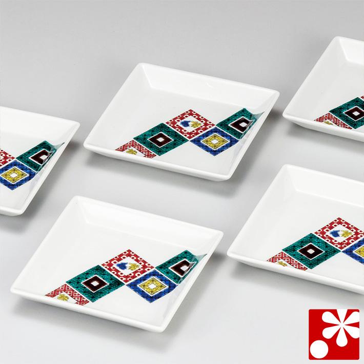 九谷焼 豆皿(角皿) セット( 辺約 12.8cm ) 石畳( 和食器 小皿 おしゃれ かわいい アンティーク )