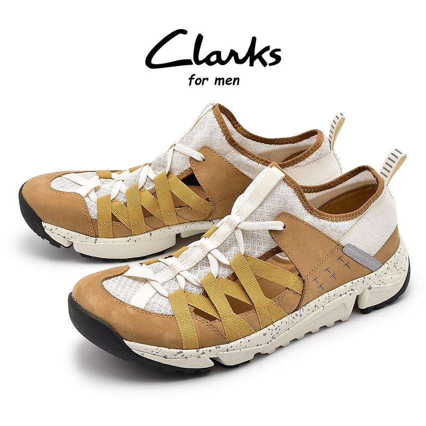 送料無料 クラークス CLARKS トライ トラック フロー スニーカー メンズ ブラウン ホワイト 白 茶 ローカット シューズ 靴 軽量 TRAI TRACK FLOW 26134553