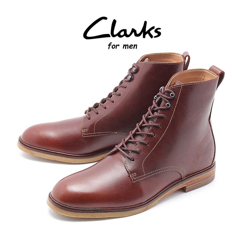 送料無料 CLARKS クラークス クラークデール リッチ ブーツ メンズ ブラウン 茶 靴 シューズ 革靴 レースアップ 8ホール レザー カジュアル CLARKDALE RICH 26136267