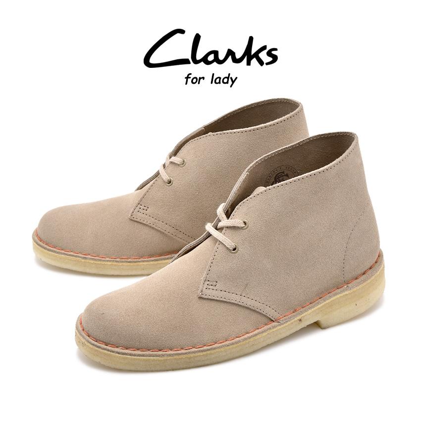 送料無料 クラークス CLARKS デザート ブーツ レディース レザー 革 シューズ 靴 ベージュ 茶 DESERT BOOT 26138220