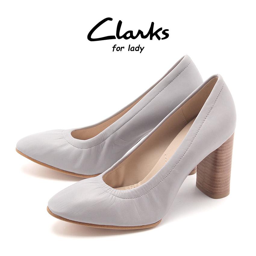 送料無料 クラークス CLARKS レディース パンプス グレイス エバ グレー ラウンドトゥ くらーくす 靴 シューズ 天然皮革 本革 レザー (CLARKS GRACE EVA 26123080)