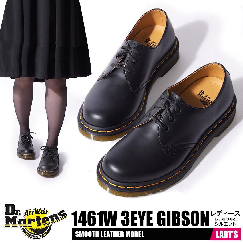 ドクターマーチン Dr.Martens 1461 3ホール ギブソン レディース プレーントゥ レザー ローカット シューズ 革 本革 短靴 女性 靴 ブラック レッド 黒 赤 3HOLE GIBSON 1461 W 送料無料