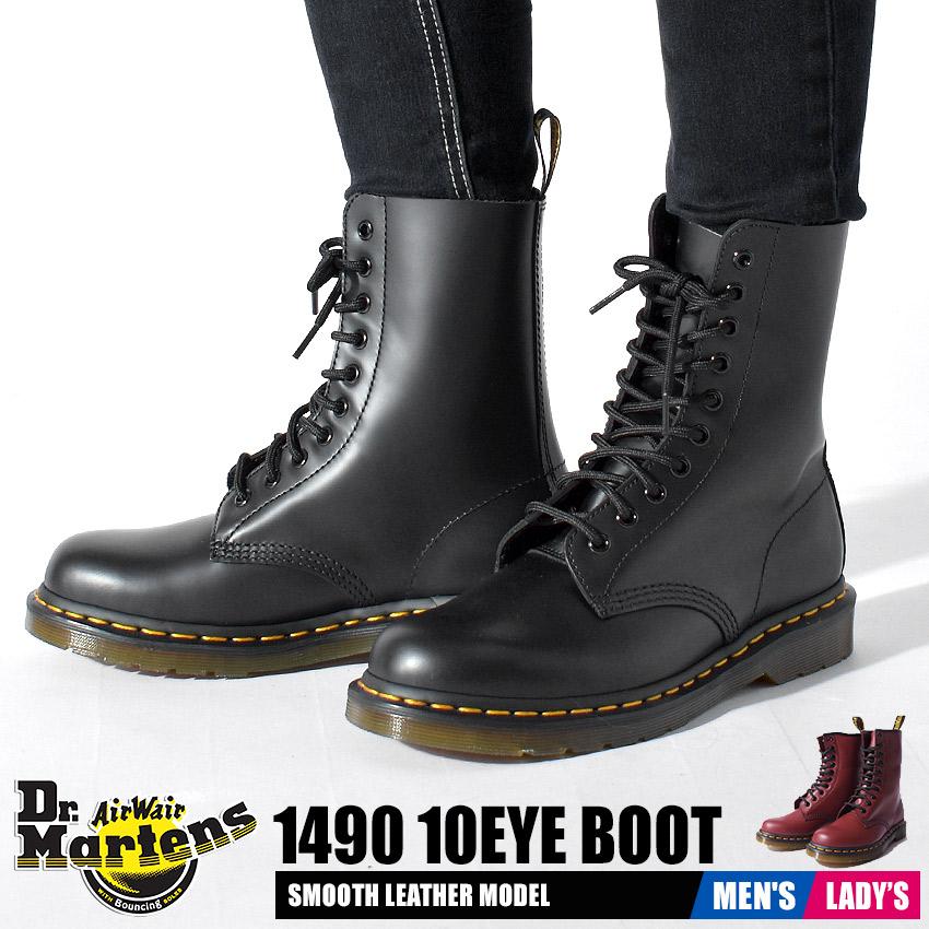 送料無料 ドクターマーチン Dr.Martens 1490 10ホール ブーツ メンズ レディース カジュアル レザー 革 シューズ パンク ブーツ 男性 女性 ブラック レッド 黒 赤 1490 10HOLE BOOT R11857001 R11857600
