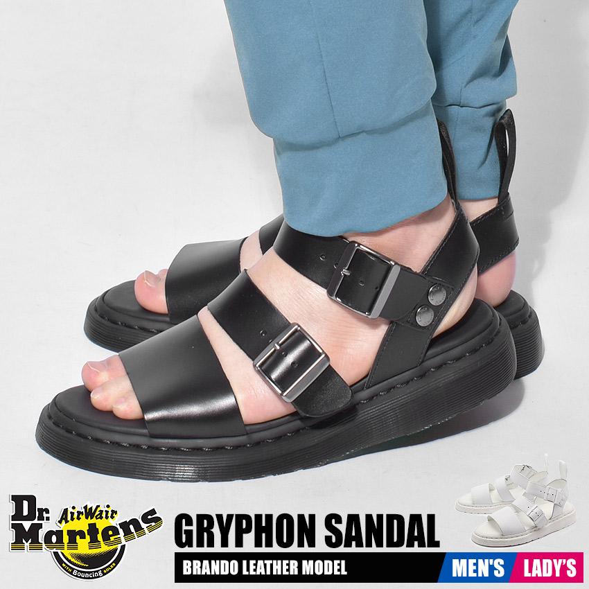 ドクターマーチン サンダル レディース メンズ グリフォン ブラック ホワイト 黒 白 靴 シューズ レザー 本革 ベルト ストラップ コンフォート Dr.Martens GRYPHON SANDAL 15695001 16821100