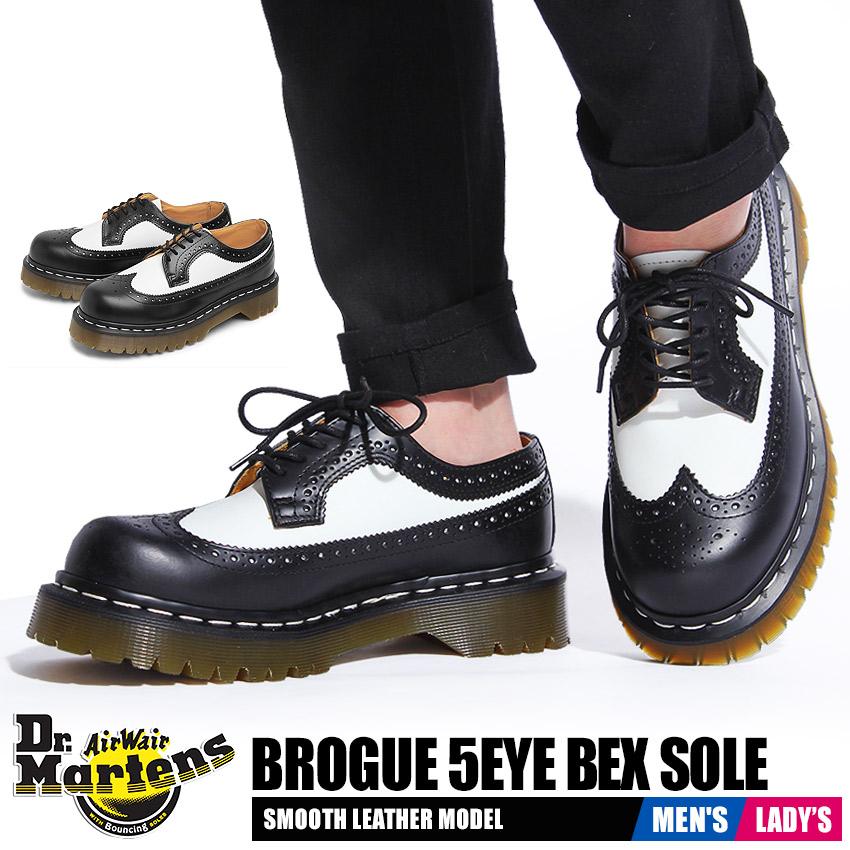 ドクターマーチン DR.MARTENS 3989 5アイ ブローグシューズ ベックスソール メンズ レディース ウイングチップ シューズ 靴 コンビレザー 革 黒 白 ブラック ホワイト 女性 3989 5EYE BROGUE SHOE BEX SOLE 10458001