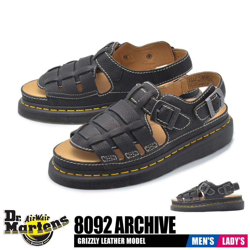 ドクターマーチン DR.MARTENS サンダル 8092 アーカイブ メンズ レディース 靴 シューズ 革靴 本革 レザー ブランド カジュアル コンフォート 定番 ベルト フィッシャーマン ヴィンテージ 黒 ブラック バックストラップ 8092 ARCHIVE 24830001