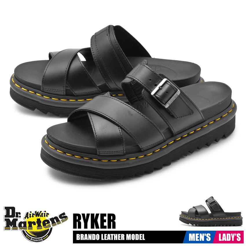 ドクターマーチン サンダル レディース メンズ ライカー ブラック 黒 靴 シューズ ブランド カジュアル レザー シューズ ベルト ストラップ コンフォート 厚底 靴 革靴 定番 DR.MARTENS RYKER 24515001