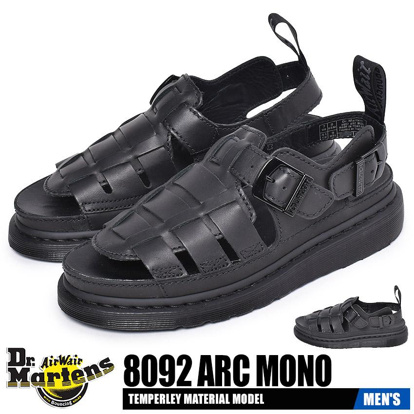 ドクターマーチン サンダル メンズ 8092 ARC モノ ブラック 黒 靴 シューズ ぺたんこ コンフォート らくちん おしゃれ ブランド 天然皮革 レザー カジュアル DR.MARTENS 8092 ARC MONO 25518001