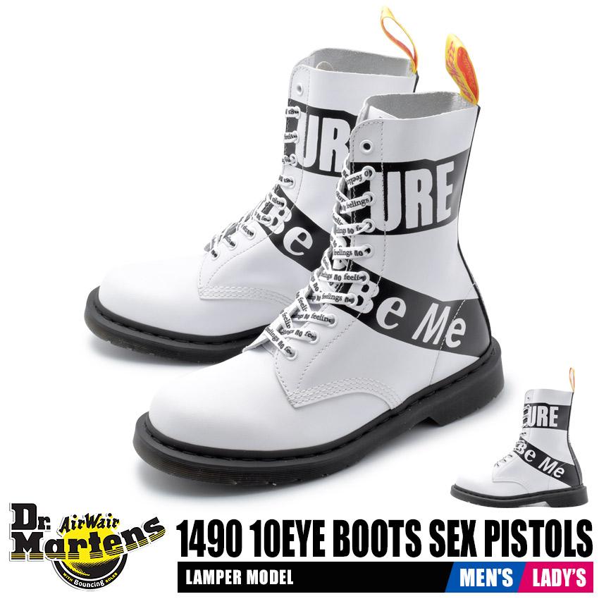 ドクターマーチン DR.MARTENS メンズ レディース ブーツ ホワイト 1490 10ホールブーツ セックス・ピストルズ 靴 シューズ ブーツ 革靴 本革 レザー カジュアル レースアップ 白 セックスピストルズ パンク コラボ 1490 10EYE BOOTS SEX PISTOLS 24785100