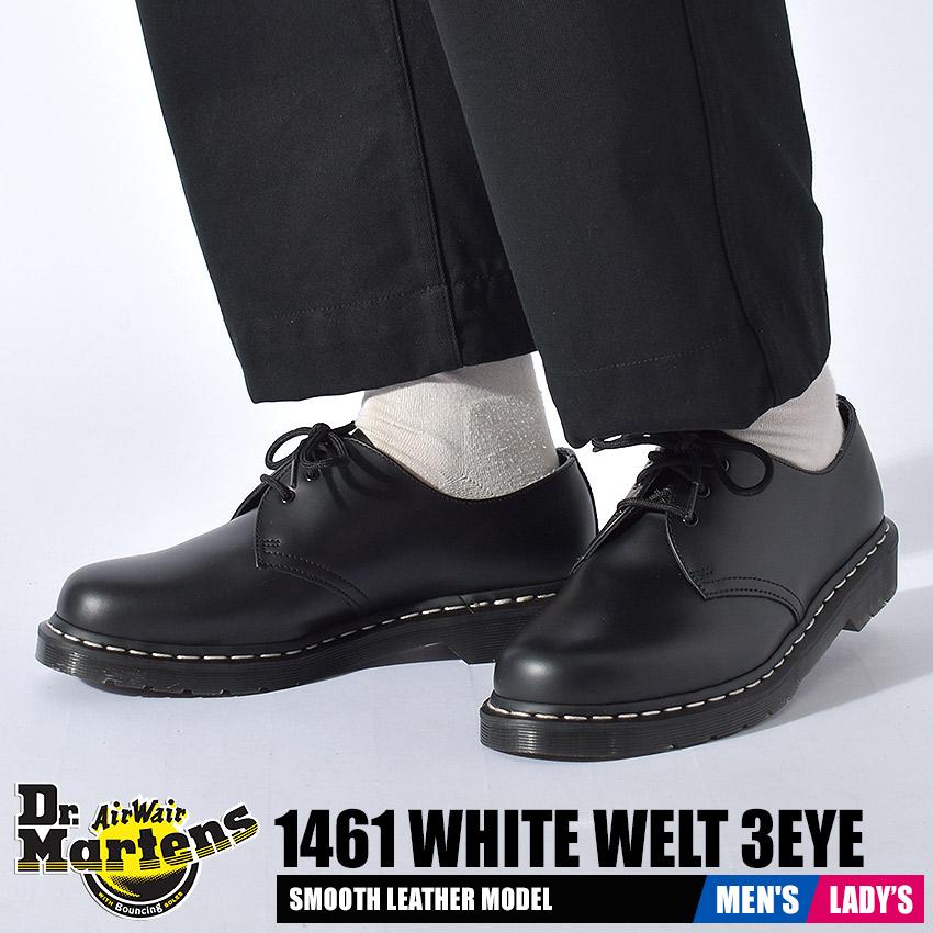 送料無料 ドクターマーチン 3ホールシューズ レディース メンズ 1461 3ホール ホワイトステッチ ブラック 新作通販 黒 靴 シューズ 有名な ローカット カジュアル Dr.Martens SHOE 定番 24757001 モノトーン 3EYE WHITE 人気 WELT 短靴