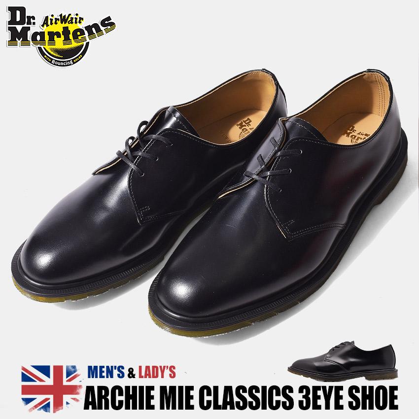 【クリアランスSALE開催中】送料無料 ドクターマーチン DR.MARTENS アーチー MIE クラシック 3ホール 革靴 メンズ ブラック 黒 レザー 革 短靴 ビジネス プレーントゥ シューズ 英国 靴 ARCHIE MIE CLASSICS 3EYE SHOE 14348001