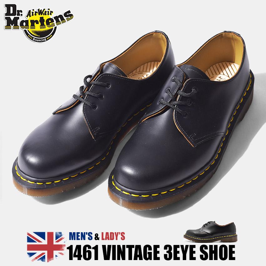 【クーポン配布!スーパーSALE】 ドクターマーチン DR.MARTENS 1461 ヴィンテージ 3ホール 革靴 メンズ レディース ブラック 黒 レザー 革 プレーントゥ シューズ 短靴 英国 靴 1460 VINTAGE 3EYE SHOE 12877001