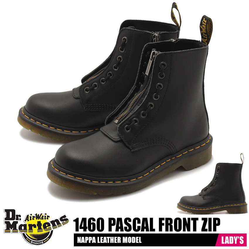 ドクターマーチン DR.MARTENS 1460 パスカル フロント ジップ 8ホール ブーツ レディース レザー 革 レースアップ ワーク シューズ 靴 ブラック 黒 1460 PASCAL FRONT ZIP 8EYE BOOT 23863001