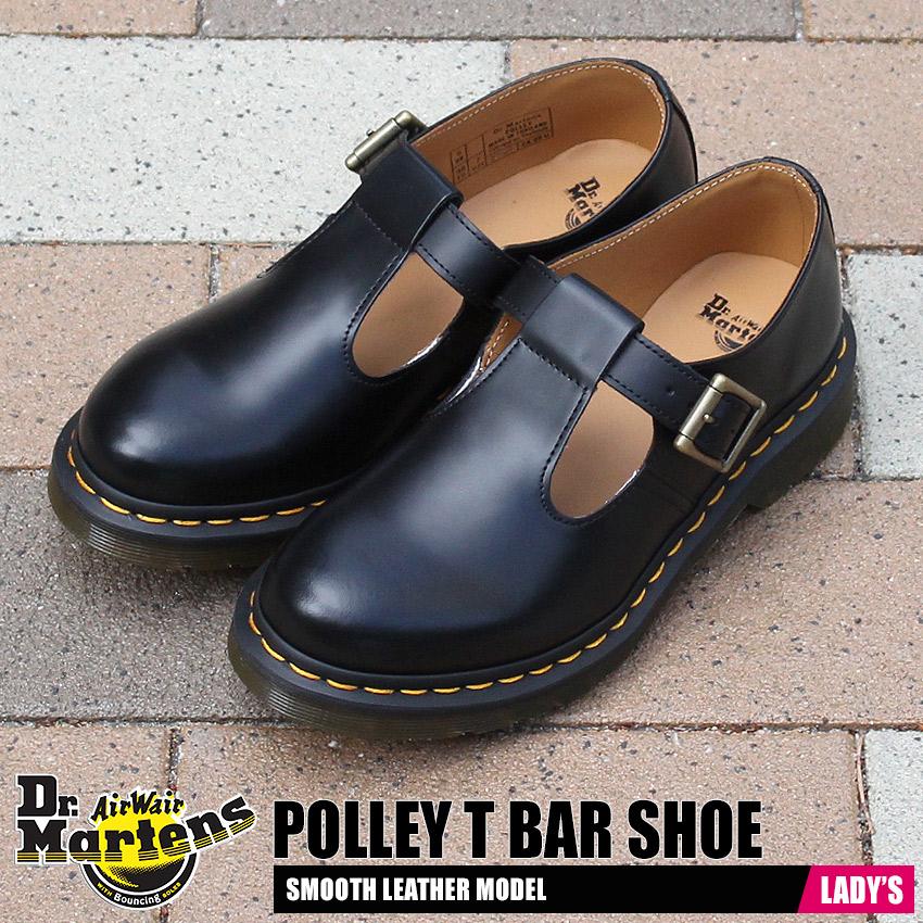 ドクターマーチン DR.MARTENS ポリー Tバー ストラップ シューズ レディース モンク プレーントゥ レザー 革 靴 ブラック 黒 POLLEY T BAR SHOE 14852001