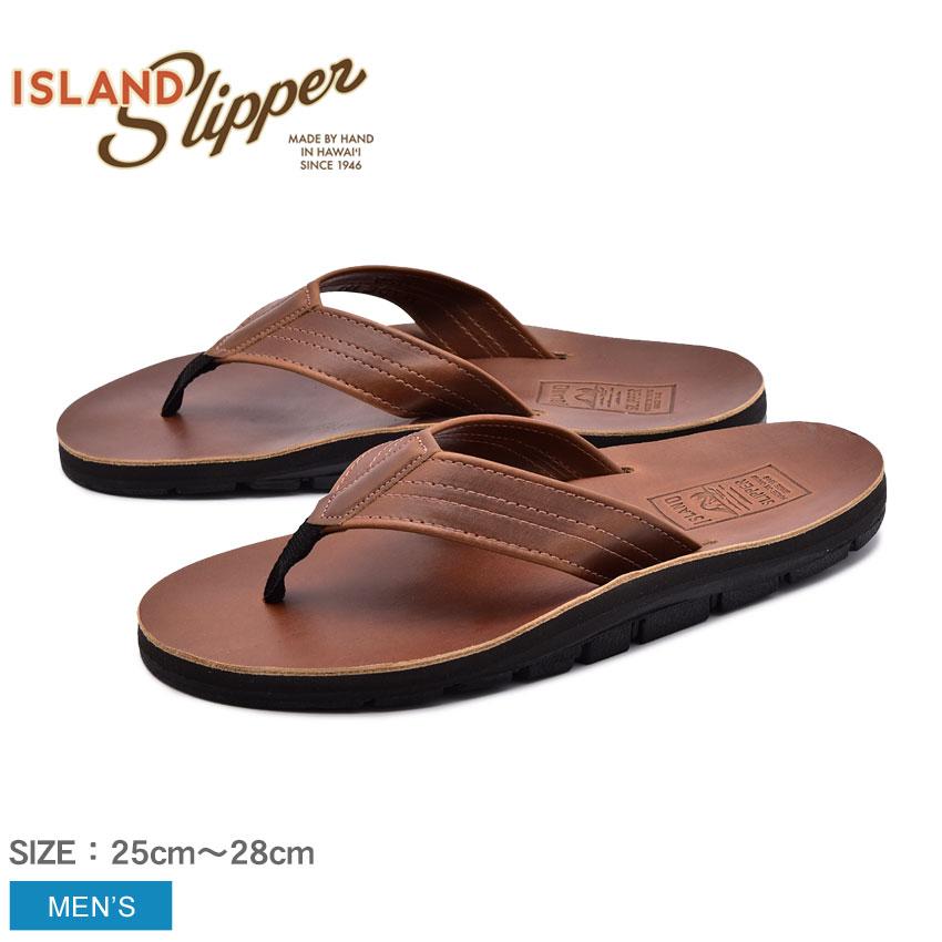 アイランドスリッパ ISLAND SLIPPER ジェニュイン ホーウィン レザー サンダル メンズ ブラウン トング コンフォート ホーウィンレザー 革 GENUINE HORWEEN LEATHER IB8903HL 送料無料