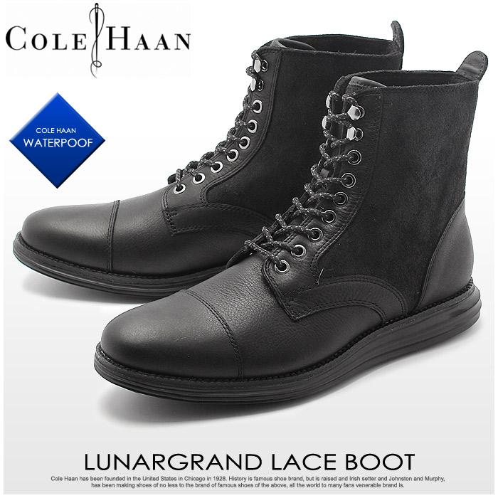【クーポン配布!スーパーSALE】 コールハーン ルナグランド レース ブーツ ウォータープルーフ ブラック (COLE HAAN C20185 LUNARGRAND LACE BOOT WATERPROOF) メンズ 革靴 レザーシューズ 本革