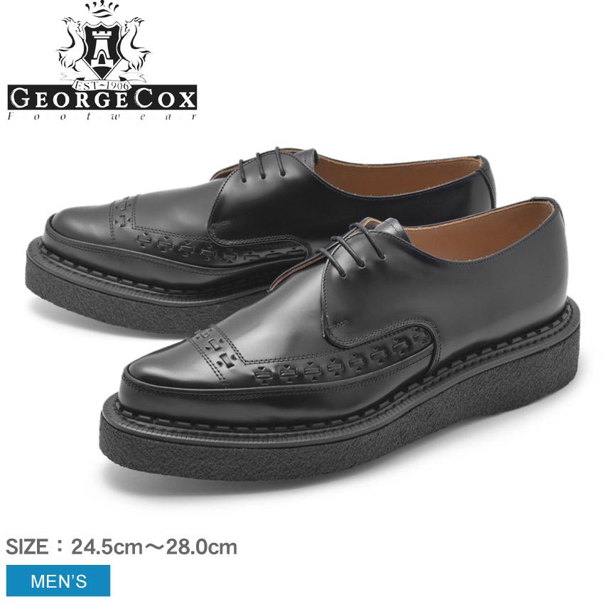 ジョージコックス GEORGECOX ラバーソール メンズ シンプル クリーパーソール ロック パンク ロカビリー シューズ 靴 天然皮革 本革 厚底 カジュアルシューズ レースアップ ドレスシューズ ブラック 黒 3705 V M/G GIBSON