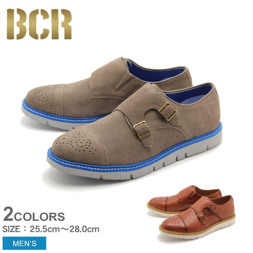ダブルモンク カジュアルシューズ メンズ グレー ブラウン 茶 靴 シューズ 本革 レザー ビーシーアール BCR BC824