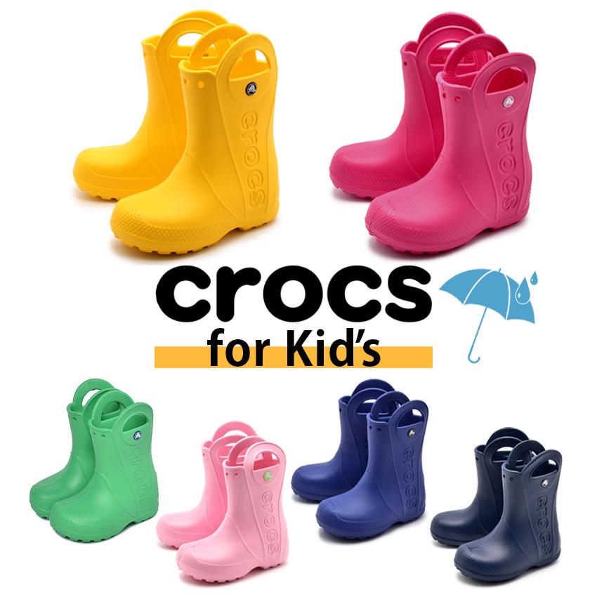 クロックス CROCS ハンドル イット レインブーツ キッズ ジュニア 子ども 長靴 子供 ネイビー イエロー レッド ピンク ブルー グリーン 未使用 赤 シューズ 緑 HANDLE 女の子 男の子 IT BOOT RAIN 雨具 KIDS かわいい 靴 青 1着でも送料無料 軽量 黄 雨 防水