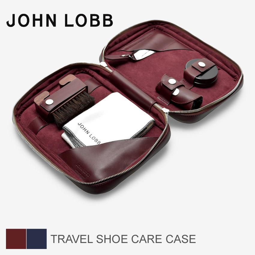 【全品クーポン有♪大感謝祭】 ジョンロブ JOHN LOBB トラベルシューケアケース シューケアケース 靴べら グローブ ブラシ クロス ワックス レザー 革 ネイビー レッド 赤 青 シューケアセット メンズ TRAVEL SHOE CARE CASE XC0109L 1U