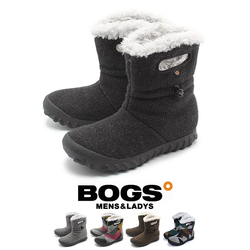 ボグス BOGS ブーツ Bモック ウール メンズ レディース 防水 防滑 保温 ショートブーツ ファー ボア ウィンター スノーブーツ ブラック グレー マルチカラー 黒 B-MOC WOOL 72106