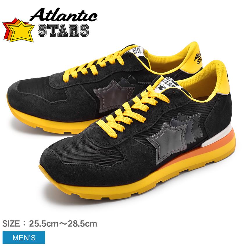 アトランティックスターズ ATLANTIC STARS アンタレス スニーカー メンズ レザー 革 ローカット シューズ 靴 ブラック イエロー 黒 黄 ANTARES SB-46B 送料無料