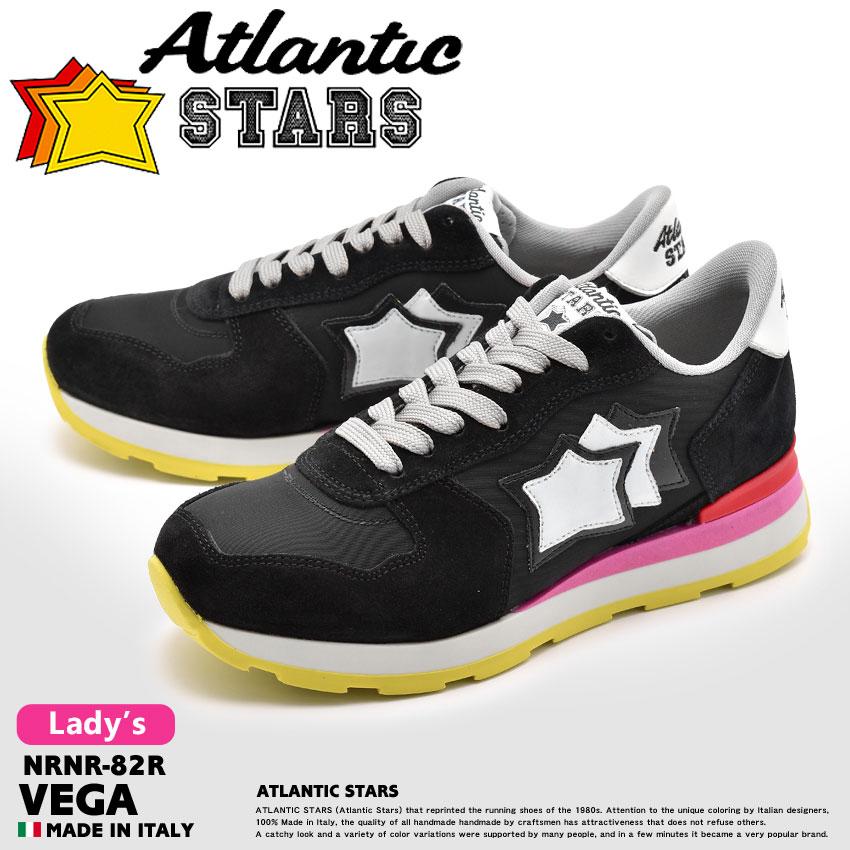 アトランティックスターズ ATLANTIC STARS ベガ スニーカー レディース レザー 革 ローカット シューズ 靴 ブラック ピンク 黒 VEGA NRNR-82R 送料無料