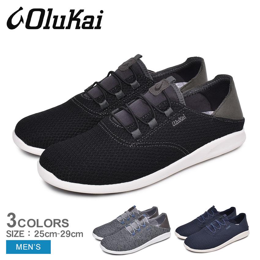 【クーポン配布!スーパーSALE】 オルカイ スニーカー メンズ 'ALAPALI 10395 ブラック 黒 ハワイ シューズ 靴 ローカット 履きやすい 歩きやすい バブーシュ かかと 踏める 通勤 通学 学生 おしゃれ レザー OLUKAI