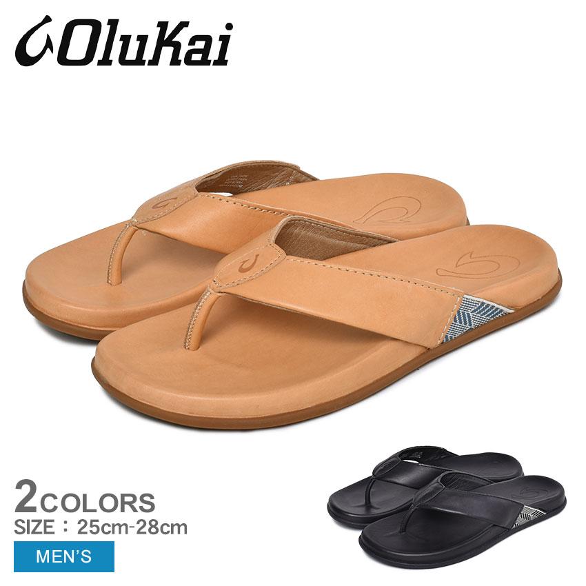 【クーポン配布!スーパーSALE】 オルカイ サンダル メンズ MALINO 10432 ブラック ベージュ 黒 ビーチサンダル ビーサン スリッパ ハワイ カジュアル ブランド つっかけ フットベッド 履きやすい 歩きやすい 鼻緒 レザー 海 川 靴 OLUKAI