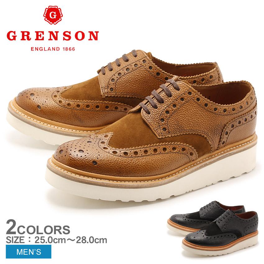 グレンソン GRENSON アーチー ウィングチップ ブラック タン 全2色 GRENSON 5067-42645V 5067-42357V ARCHIE V メンズ 短靴 コンビ ウイングチップ レザーシューズ