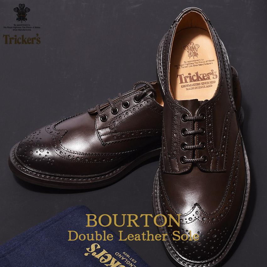 トリッカーズ TRICKER'S メンズ ウィングチップ バートン エスプレッソバーニッシュ ダブルレザーソール TRICKERS ブラウン 男性 ウイング カントリー カジュアル シューズ 革靴 短靴 靴 (TRICKER'S 5633 2 COUNTRY BOURTON) メダリオン 送料無料