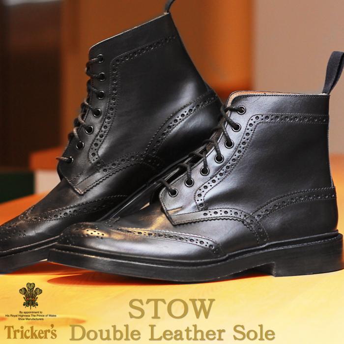 【クーポン配布!スーパーSALE】 トリッカーズ TRICKER'S TRICKERS メンズ ストウ ダブルレザーソール ブラックカーフ カントリー ブーツ ウィングチップ ウイングチップ TRICKER'S 5634 BROGUE BOOTS STOW メダリオン