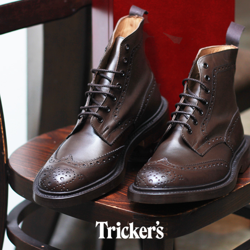 【夏のクリアランスセール】 トリッカーズ TRICKER'S TRICKERS メンズ ストウ ダブルレザーソール エスプレッソバーニッシュ カントリー ブーツ ウィングチップ ウイングチップ TRICKER'S 5634 5 BROGUE BOOTS STOW メダリオン