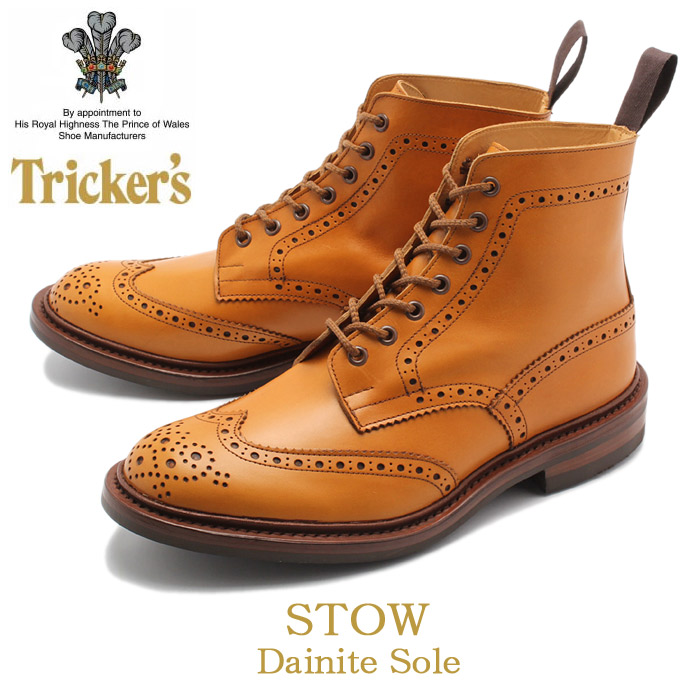 【24時間限定セール】 トリッカーズ TRICKER'S TRICKERS メンズ ストウ ダイナイトソール エイコーンアンティーク カントリー ブーツ ウィングチップ ウイングチップ TRICKER'S 5634 24 BROGUE BOOTS STOW  メダリオン