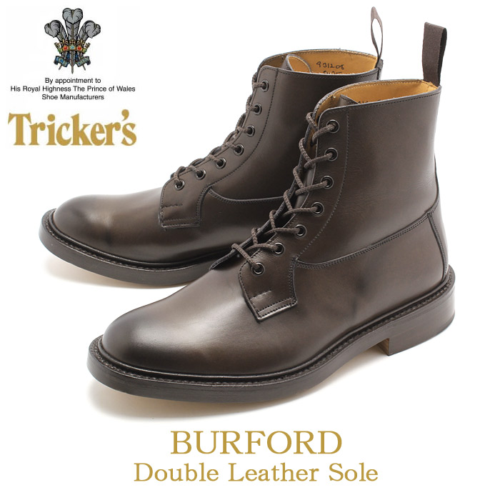 トリッカーズ TRICKER'S TRICKERS メンズ バーフォード ダブルレザーソール エスプレッソバーニッシュ カントリー ブーツ プレーントゥ 男性 TRICKER'S 5635 COUNTRY BURFORD 送料無料