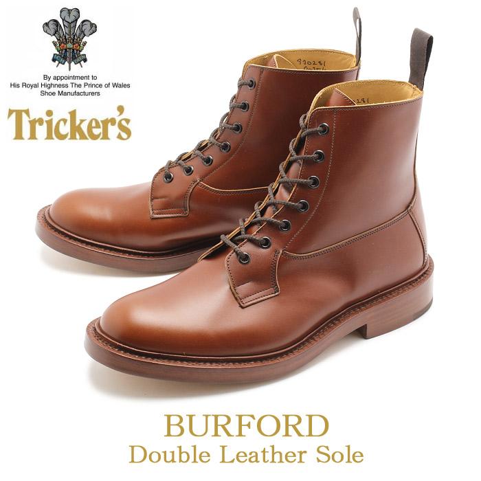 トリッカーズTRICKER'S TRICKERS メンズ バーフォード ダブルレザーソール マロンアンティーク カントリー ブーツ プレーントゥ 5635 1 COUNTRY BURFORD