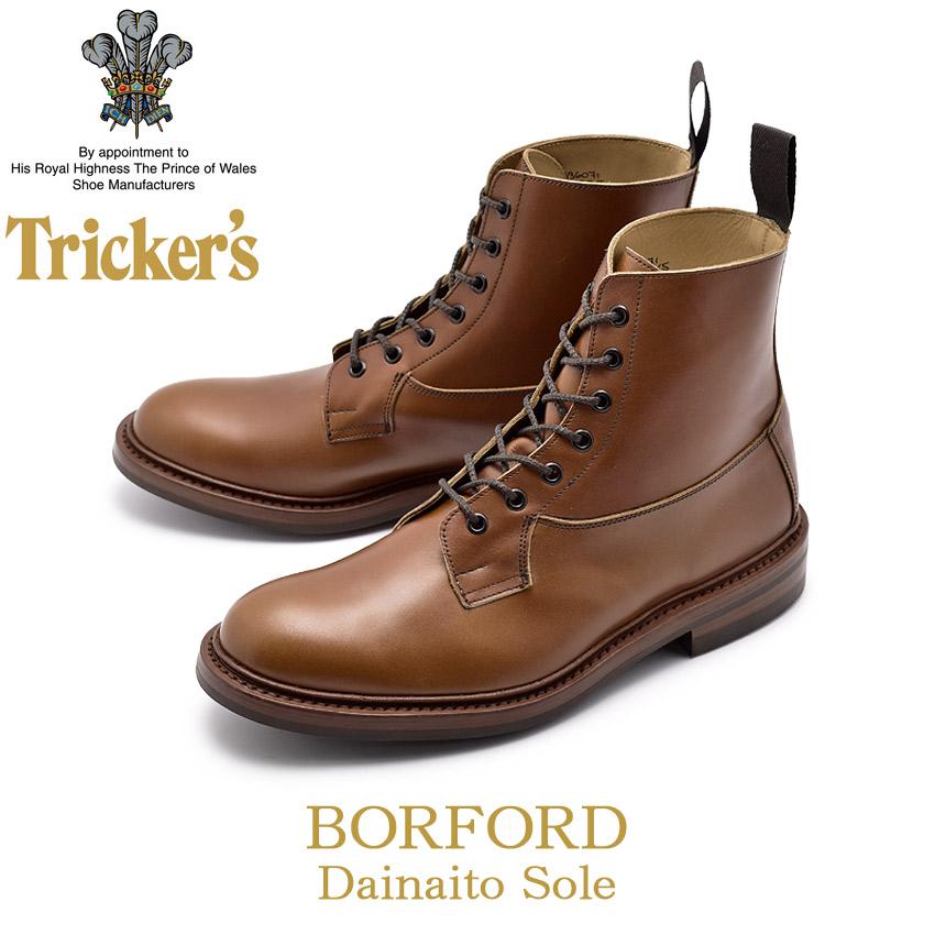 トリッカーズ TRICKER'S バーフォード ブーツ ダイナイトソール プレーントゥ レースアップ カントリー ブラウン 茶 メンズ BURFORD 5635/5