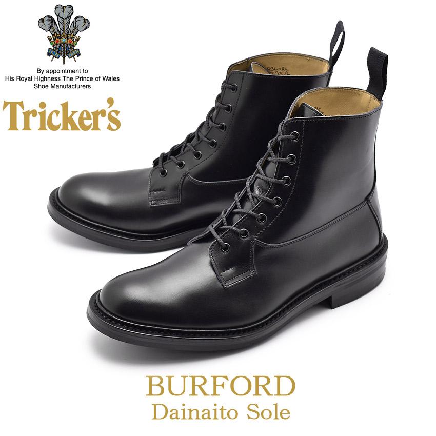 【24時間限定セール】 トリッカーズ TRICKER'S バーフォード ブーツ ダイナイトソール プレーントゥ レースアップ カントリー ブラック 黒 メンズ BURFORD 5635/6