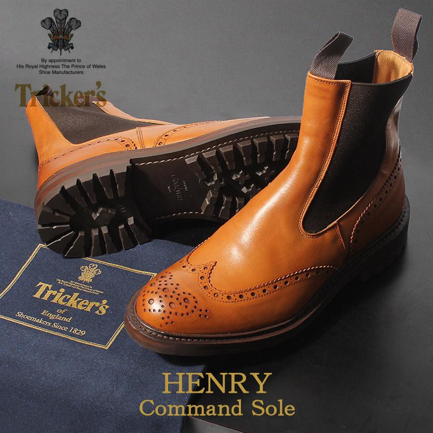 トリッカーズ TRICKER'S メンズ サイドゴアブーツ ヘンリー コマンドソール バーニッシュ TRICKERS ブラック 黒 本革 ベンチ ハンドメイド ブーツ カジュアル 革靴 英国 靴 ロイヤルワラント 男性 (TRICKER'S 2754 1 HENRY) メダリオン 送料無料