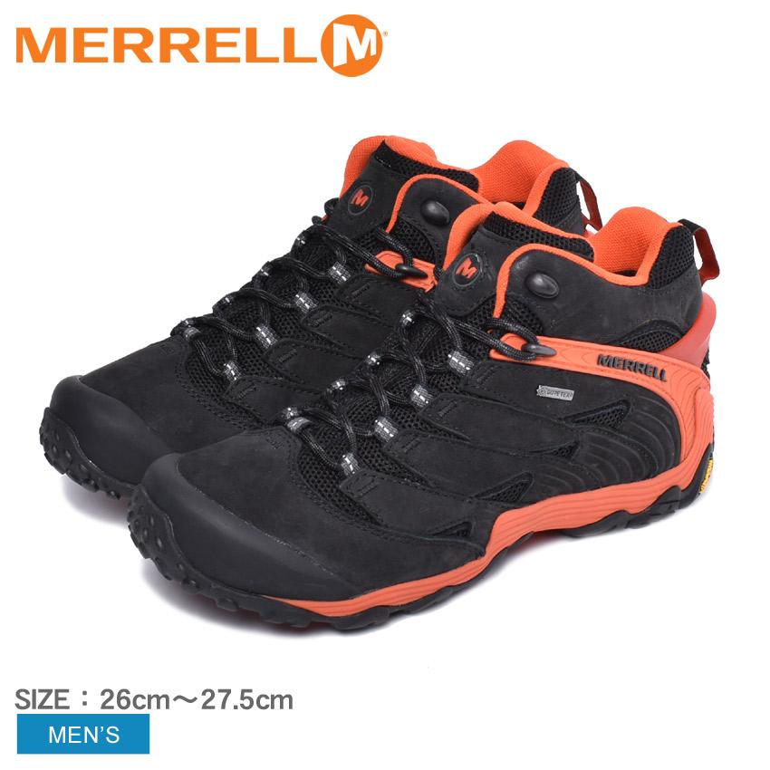 メレル MERRELL トレッキングシューズ カメレオン 7 ミッド ゴアテックス メンズ 黒 ブラック オレンジ 靴 シューズ スニーカー カジュアルシューズ アウトドア スポーツ 運動 登山 山登り CHAMELEON 7 MIDGORE-TEXR J98281 送料無料