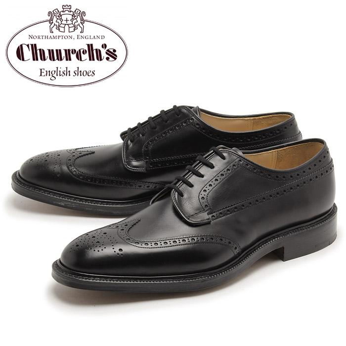 チャーチ CHURCHS グラフトン 173 ウイングチップ シューズ メンズ ブラック 黒 天然皮革 本革 レザー 短靴 靴 紳士靴 ビジネス カジュアル ドレス 外羽根 レザーソール 男性 GRAFTON 173 7869-11 BLACK 送料無料