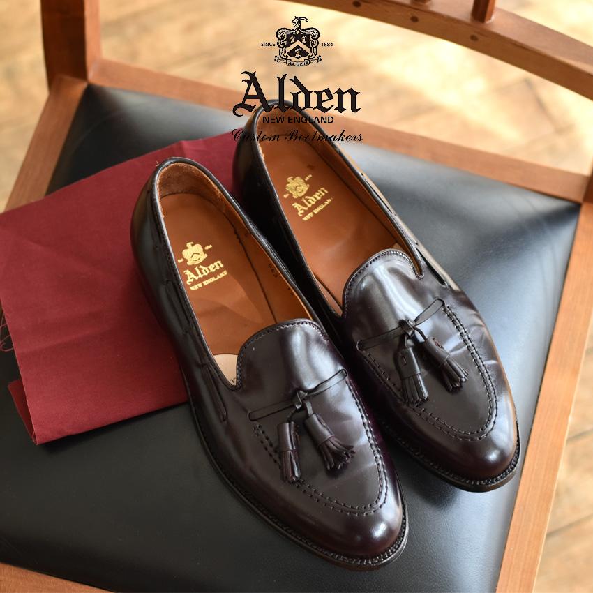 オールデン ALDEN コードバン ローファー タッセル モカシン メンズ シューズ トラディショナル ビジネス フォーマル 革靴 紳士靴 バーガンディー 茶色 TASSEL MOCCASIN 563 8 送料無料
